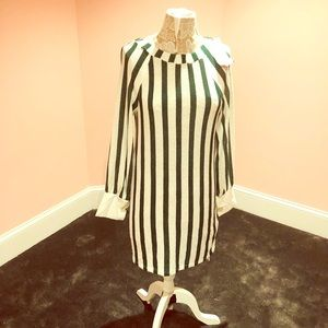 Zara unusual green striped dress
